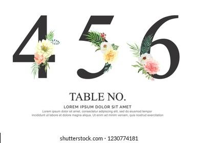 ์Number 4,5,6 flower made of paint floral and leaf watercolor on paper. Image hand drawn numbers paint luxury design. Sweet collection for wedding invites decoration card and other concept ideas.