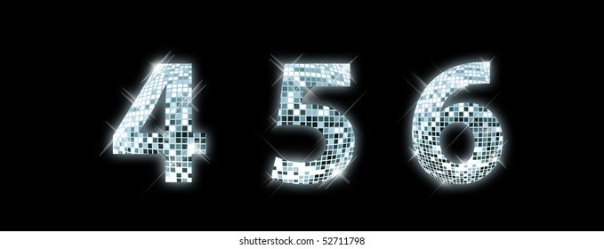 4,5,6 - font made from a disco ball