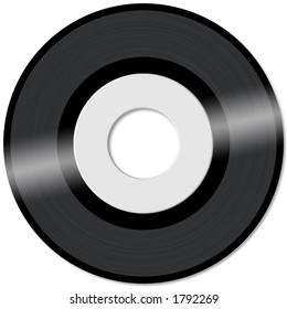 45rpm vinyl record with empty label in white background