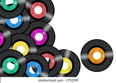 45rpm vinyl records with different label colors in white background