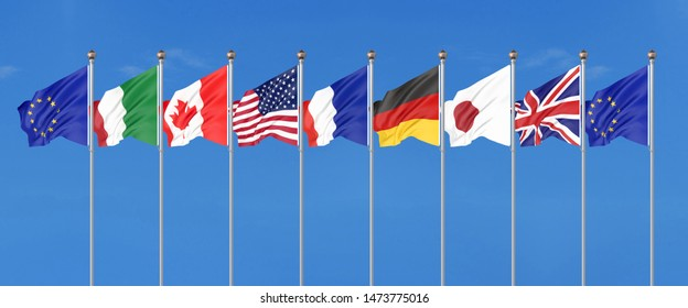 45th G7 summit ,  2019 in Biarritz,  France. 7 Silk waving flags of countries of Group of Seven - Canada, France, Japan, Germany, Italy, USA states, United Kingdom. Big Seven. 3D illustration
