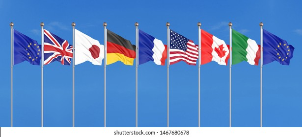 45th G7 summit , August 24–26, 2019 in Biarritz, Nouvelle-Aquitaine, France. 7  flags of countries of Group of Seven - Canada, France, Japan, Germany, Italy, USA , United Kingdom. 3D illustration.