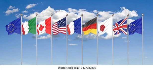 45th G7 summit in Biarritz, Nouvelle-Aquitaine, France. 7 Silk waving flags of countries of Group of Seven - Canada, France, Japan, Germany, Italy, USA states, United Kingdom.  3D illustration.
