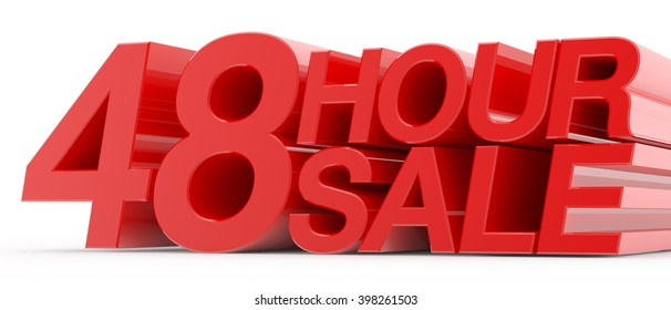 48 HOUR SALE word on white background illustration 3D rendering