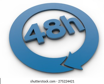 48 hours - 3D Text over white Background