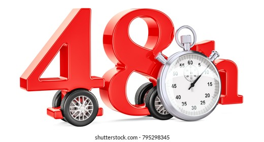 48 hours fast delivery concept, 3D rendering isolated on white background