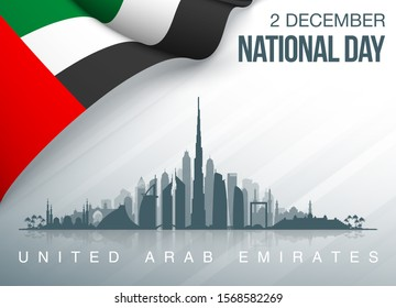 48 UAE National day banner with UAE flag. Holiday card for 2 december, 48 National day United Arab Emirates Spirit of the union. Design Anniversary Celebration Card with Dubai and Abu Dhabi silhouette