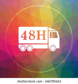 48H delivery truck icon. 48H delivery truck website button on low poly background.