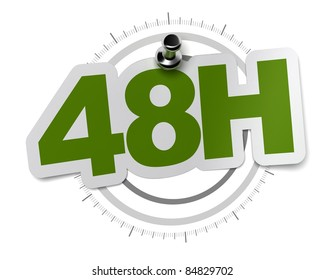 48H, forty height hours sticker over a gray watch dial, image over a white background