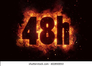 48h icon fire explode text flames hot
