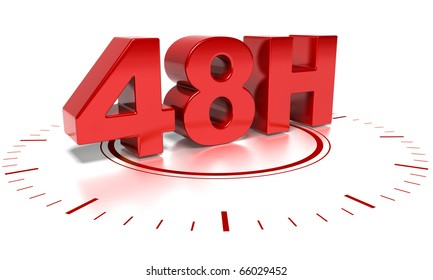 48H text over white background with clock