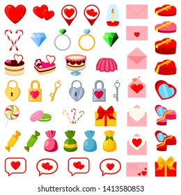 49 colorful cartoon valentine elements. Romantic date invitation decor. Love themed illustration for icon, stamp, label, certificate, brochure, gift card, poster or banner decoration