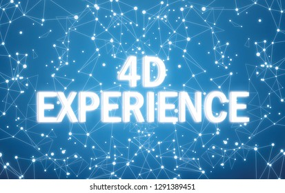 4D experience on digital interface and blue network background