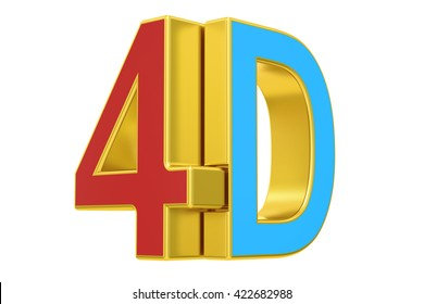 4D logo, 3D rendering  isolated on white background