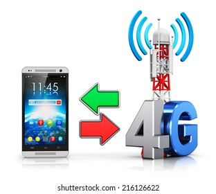 4G digital cellular telecommunication technology and wireless connection business concept: smartphone and mobile base station or TV transmitter antenna pylon with 4G sign or symbol isolated on white