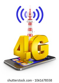 4G on the smartphone and a communications tower. 3d rendering.