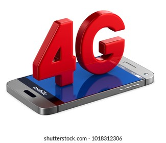 4G phone on white background. Isolated 3D illustration
