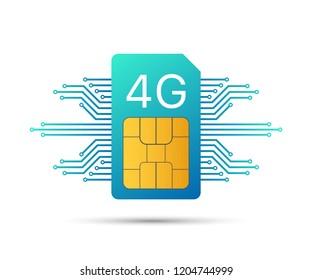 4G Sim Card. Mobile telecommunications technology symbol.  stock illustration.