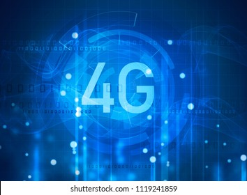 4G symbol on digital background