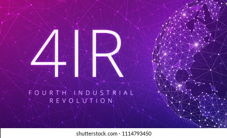 4IR fourth industrial revolution on the ultraviolet background of polygon world map globe with blockchain technology peer to peer network. Fourth industrial revolution business banner concept.