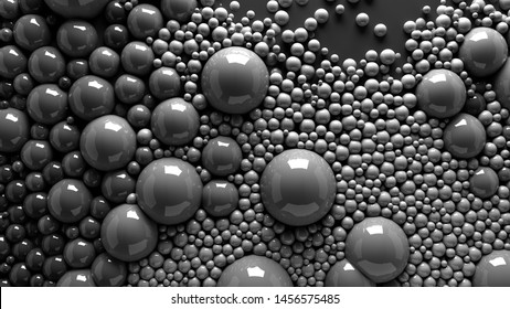 4k 3d illustration of spheres and balls in a organic motion background. Top view of bubbles paint