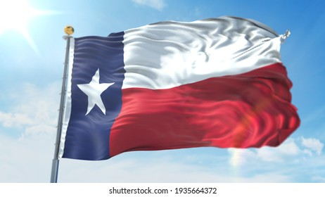 4k 3D Illustration of the waving flag on a pole of state of Texas in United States of America
