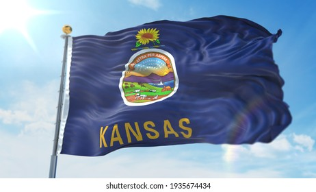4k 3D Illustration of the waving flag on a pole of state of Kansas in United States of America