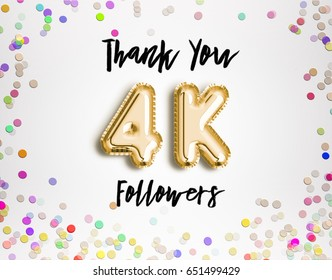4k or 4000 thank you Gold balloons and colorful confetti, glitters. 3D Illustration for Social Network friends, followers, Web user Thank you celebrate of subscribers or followers, likes.