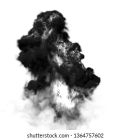 4K Big smoke explosion effect white background, Realistic explosions boom, Realistic fiery explosion over a black background, white smoke on background