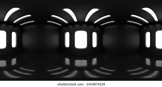 4K HDRI map, spherical environment panorama background, high contrast interior light source rendering, with black walls (3d equirectangular illustration)