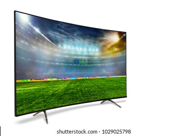 4k monitor isolated on white. Isometric view.   monitor watching smart tv translation of football game. . 3D illustration or 3D rendering