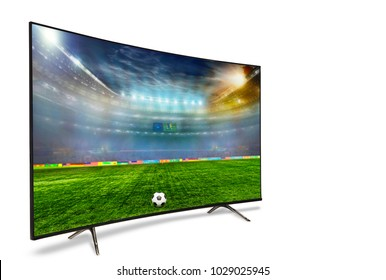 4k monitor isolated on white. Isometric view.   monitor watching smart tv translation of football game. 3D illustration or 3D rendering