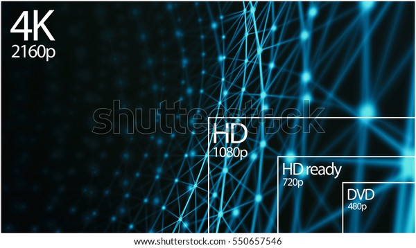 4K television resolution display with comparison of resolutions. 3D render