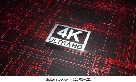 4K ultra hd symbol on abstract electronic circuit board. Television technology concept of ultra high definition sign on digital background with many lines and geometric elements. 3d rendering