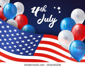 4th July banner with USA flag and balloons. Background for Independence day USA