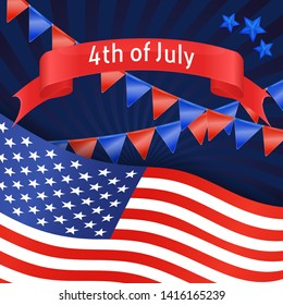 4th July banner with USA flag, garland and stars. Background for Independence day USA