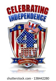 4th July Celebrating Independence Graphic on Shield with Uncle Sam�s Top Hat and clipping path.