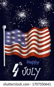 4th july celebration poster illustration on dark blue background with fire works