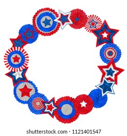 4th of July Cockades and Stars Round Wreath in Patriotic Tricolor. Watercolor Stars and Cockades Round Frame Isolated on White Background. Patriotic Festive Design for Independence Day Celebration.