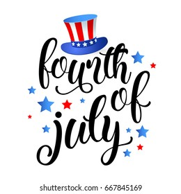 4th July - Happy Independence day of United States of America - festive banner with different holiday flags on background