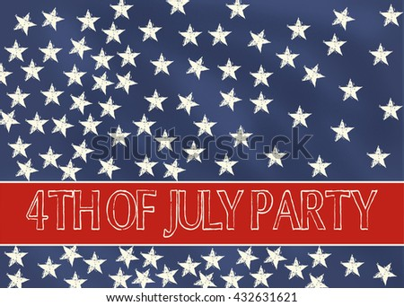 4th july party invitation blue chalkboard stock illustration