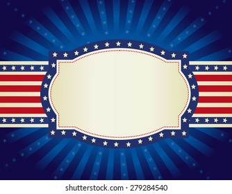 4th of july retro frame with stars and stripes on glowing starburst background