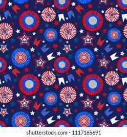 4th of July Seamless pattern with Tricolor Cockades and Stars on Dark Blue Background. Seamless Rapport for Independence Day Celebration Print, Background, and Textile. Patriotic Tricolor Design.