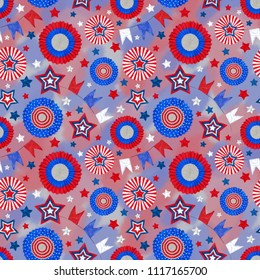 4th of July Seamless pattern with Tricolor Cockades and Stars on Patriotic Background. Seamless Rapport for Independence Day Celebration Print, Background, and Textile. Patriotic Tricolor Design.
