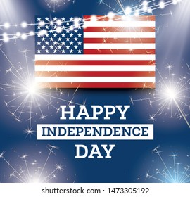 4th of July United States National Independence Day. Celebration Background with American Flag.