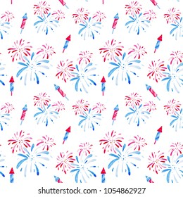 4th of July. Watercolor fireworks festival pattern for holidays, United Stated independence day. Design for print, card, banner.