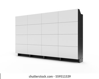 4x4 projection cubes video wall with white screen 3D illustration