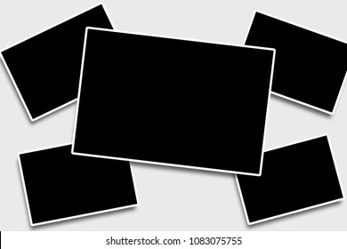 5 Blank overlapping photo frames template in a rectangular shape for your photographs to place in with white strokes on a clean background,simulating old camera photos look.