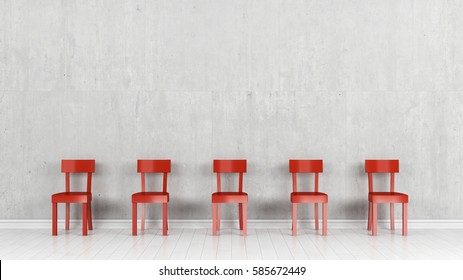5 chairs in front of concrete wall 3d rendering