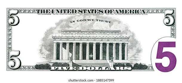 5 dollar bill back side for design purpose
